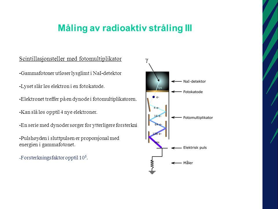 Måling av radioaktiv stråling IV Scintillasjonsteller med fotomultiplikator og flerkanalsanalysator -I en flerkanalsanalysator sorteres pulsene etter energinivå.