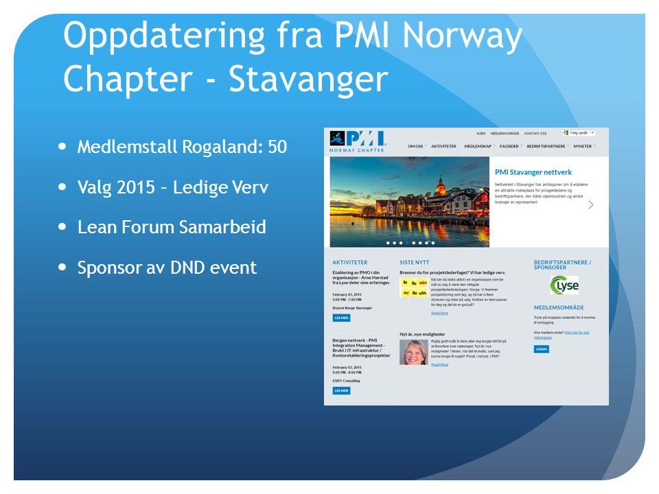 Oppdatering fra PMI Norway Chapter - Stavanger Medlemstall Rogaland: 50 Valg 2015 – Ledige Verv Lean Forum Samarbeid Sponsor av DND event