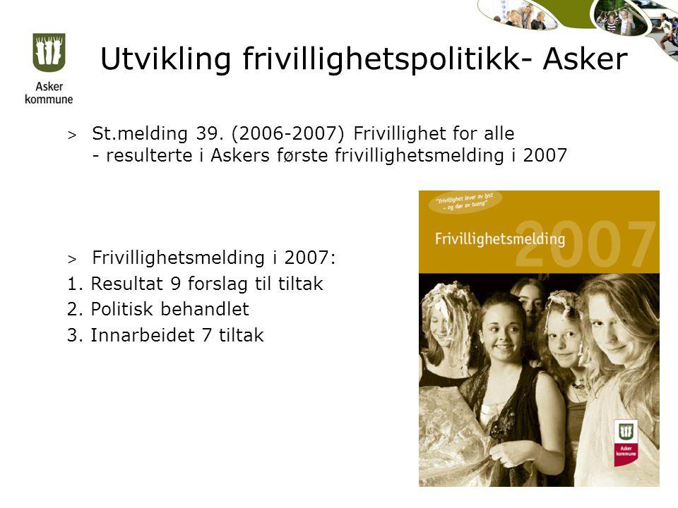 Utvikling frivillighetspolitikk- Asker > St.melding 39.