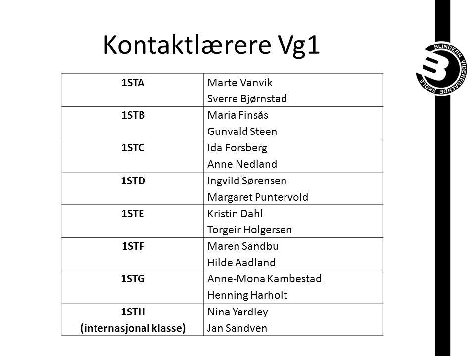 Kontaktlærere Vg1 1STA Marte Vanvik Sverre Bjørnstad 1STB Maria Finsås Gunvald Steen 1STC Ida Forsberg Anne Nedland 1STD Ingvild Sørensen Margaret Pun