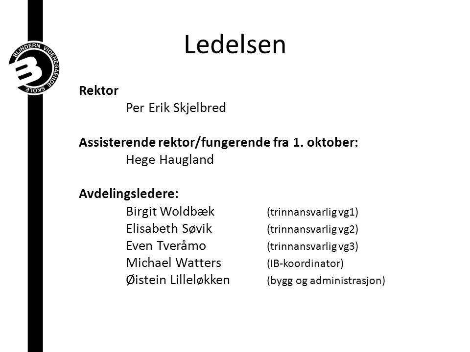 Ledelsen Rektor Per Erik Skjelbred Assisterende rektor/fungerende fra 1. oktober: Hege Haugland Avdelingsledere: Birgit Woldbæk (trinnansvarlig vg1) E