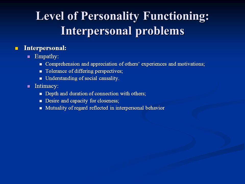 Alvorlig svekkelse av selv- organisering (grad 4): Identitet Opplevelse av et velavgrenset selv og en følelse av «agency»/autonomi er så å si fraværende, eller organisert rundt opplevelser av å bli forfulgt av noe ytre.