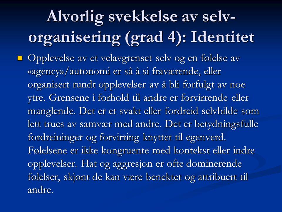 Alvorlig svekkelse av selv- organisering (grad 4): Identitet Opplevelse av et velavgrenset selv og en følelse av «agency»/autonomi er så å si fraværen