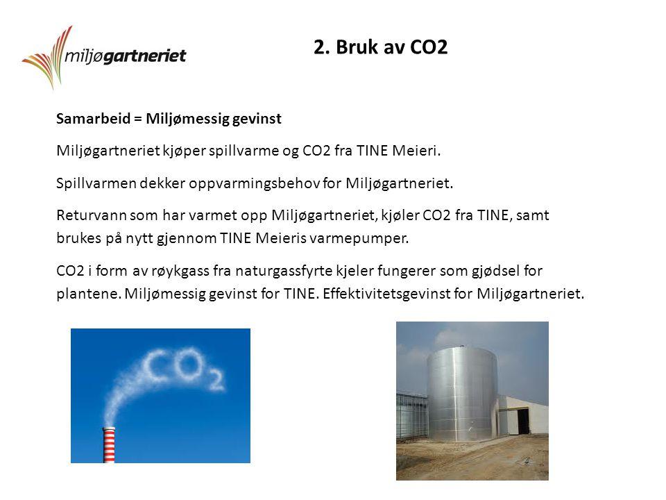 2. Bruk av CO2 Samarbeid = Miljømessig gevinst Miljøgartneriet kjøper spillvarme og CO2 fra TINE Meieri. Spillvarmen dekker oppvarmingsbehov for Miljø