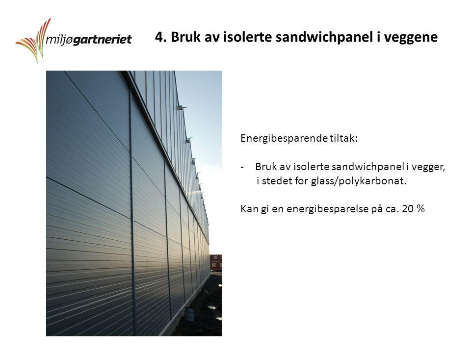 4. Bruk av isolerte sandwichpanel i veggene Energibesparende tiltak: -Bruk av isolerte sandwichpanel i vegger, i stedet for glass/polykarbonat. Kan gi