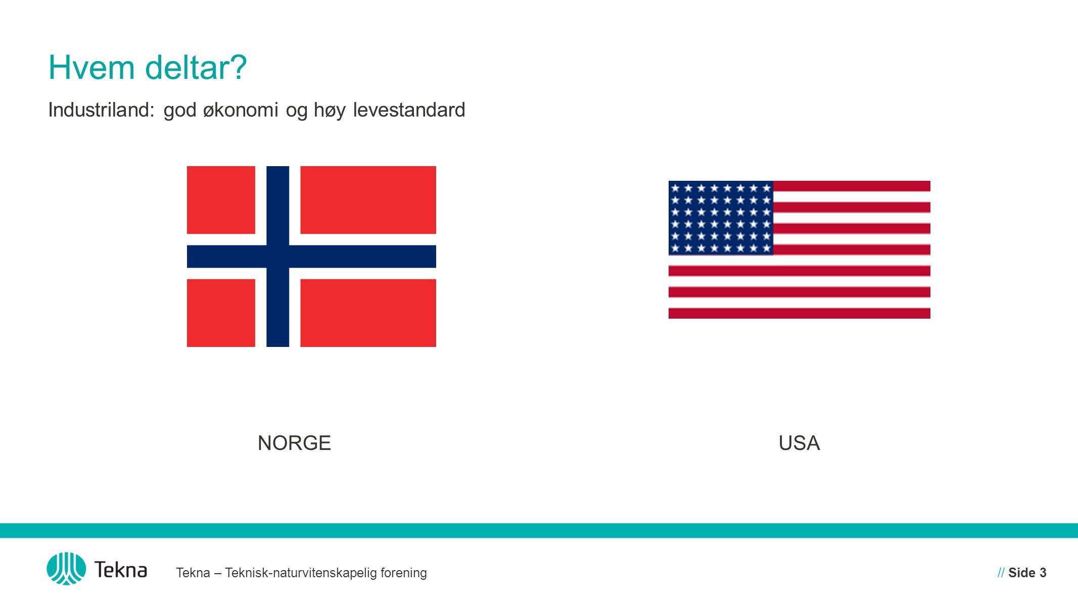 Hvem deltar? NORGEUSA Tekna – Teknisk-naturvitenskapelig forening// Side 3 Industriland: god økonomi og høy levestandard