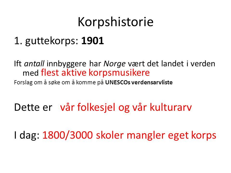 Korpshistorie 1. guttekorps: 1901 Ift antall innbyggere har Norge vært det landet i verden med flest aktive korpsmusikere Forslag om å søke om å komme