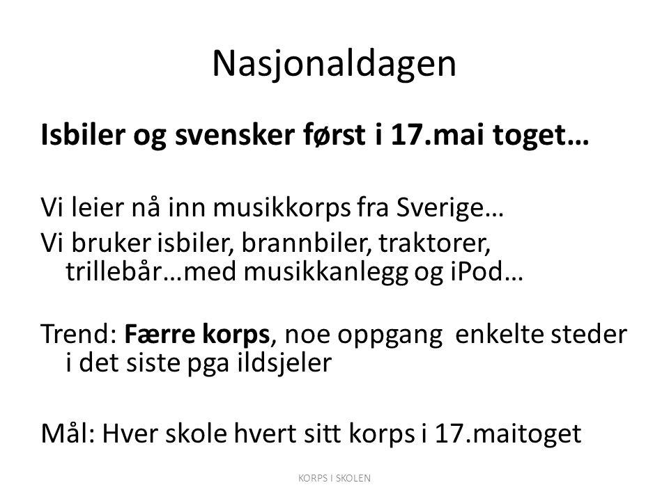Nasjonaldagen Isbiler og svensker først i 17.mai toget… Vi leier nå inn musikkorps fra Sverige… Vi bruker isbiler, brannbiler, traktorer, trillebår…me