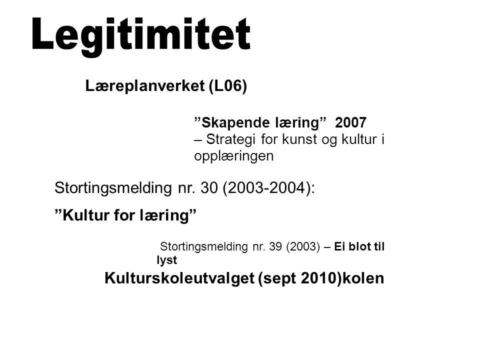 """Stortingsmelding nr. 30 (2003-2004): """"Kultur for læring"""" Kulturskoleutvalget (sept 2010)kolen Stortingsmelding nr. 39 (2003) – Ei blot til lyst Lærepl"""
