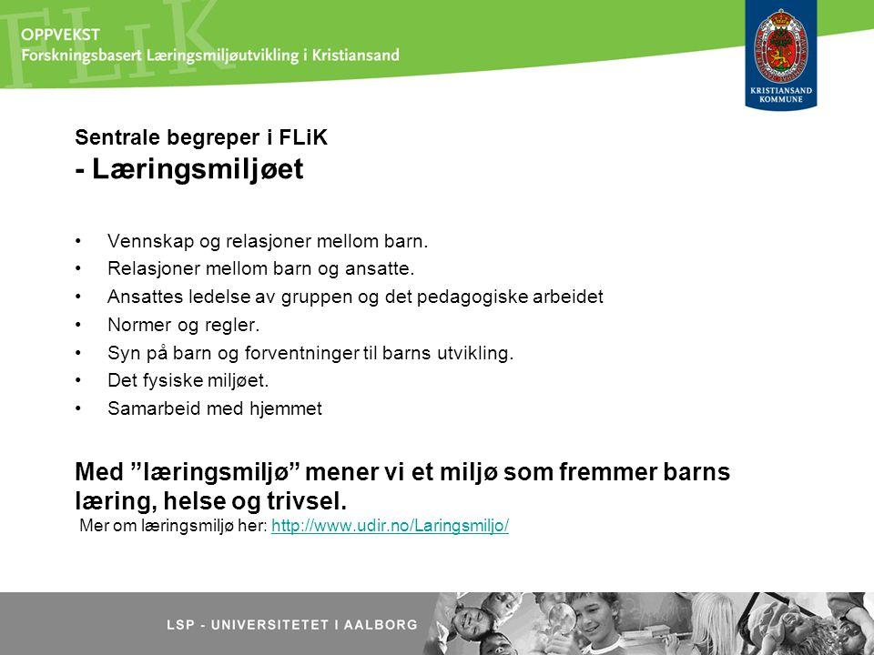 Sentrale begreper i FLiK - Læringsmiljøet Vennskap og relasjoner mellom barn. Relasjoner mellom barn og ansatte. Ansattes ledelse av gruppen og det pe