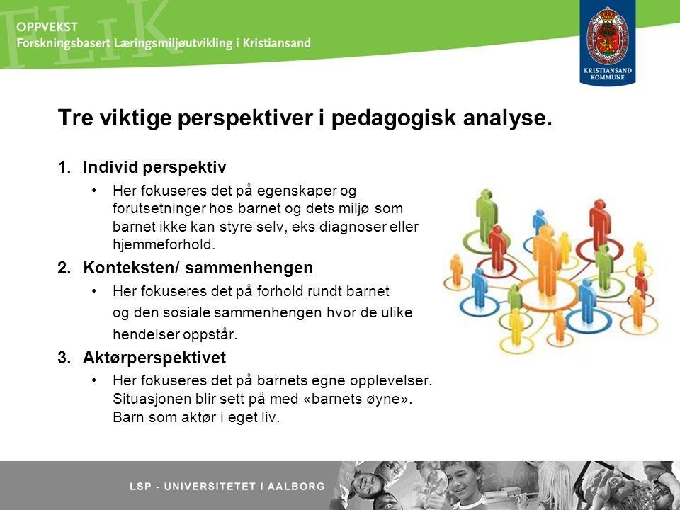 Tre viktige perspektiver i pedagogisk analyse. 1.Individ perspektiv Her fokuseres det på egenskaper og forutsetninger hos barnet og dets miljø som bar
