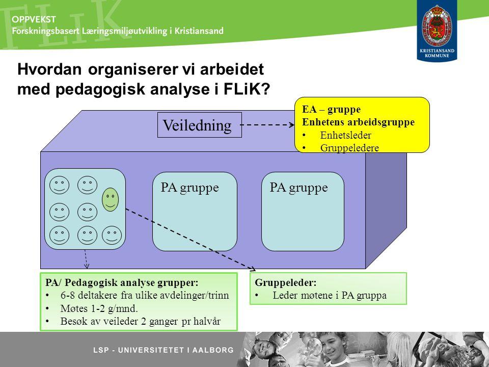 Hvordan organiserer vi arbeidet med pedagogisk analyse i FLiK? PA gruppe PA/ Pedagogisk analyse grupper: 6-8 deltakere fra ulike avdelinger/trinn Møte