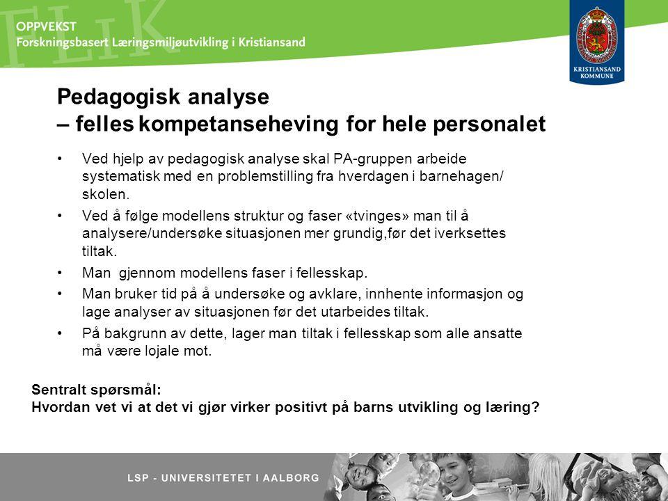 Pedagogisk analyse – felles kompetanseheving for hele personalet Ved hjelp av pedagogisk analyse skal PA-gruppen arbeide systematisk med en problemsti