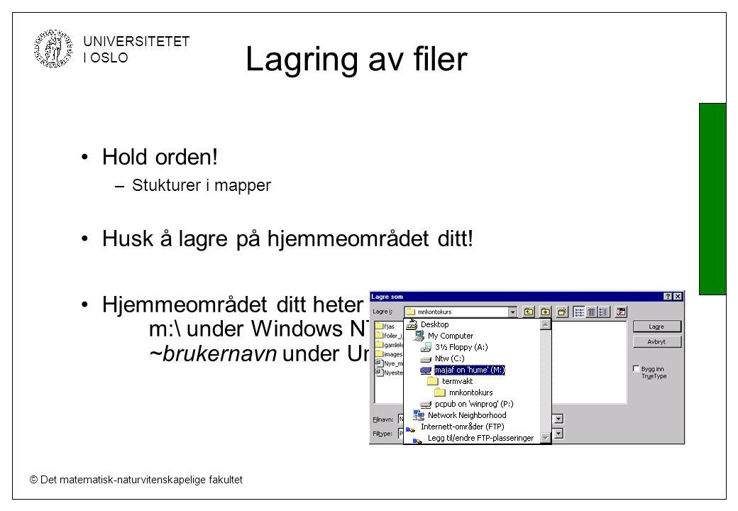 © Det matematisk-naturvitenskapelige fakultet UNIVERSITETET I OSLO Lagring av filer Hold orden.