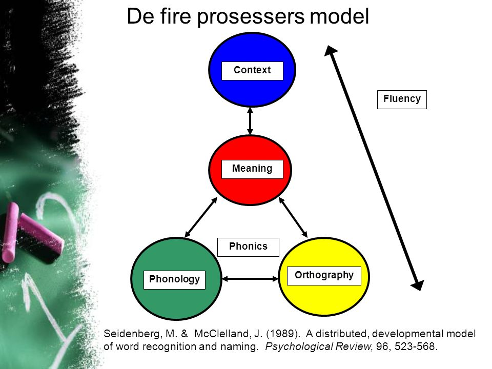Fluency Context Meaning Phonology Orthography Phonics De fire prosessers model Seidenberg, M.