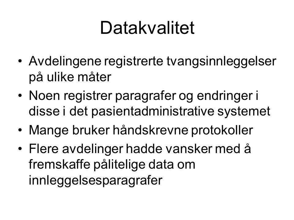 Datakvalitet Avdelingene registrerte tvangsinnleggelser på ulike måter Noen registrer paragrafer og endringer i disse i det pasientadministrative syst