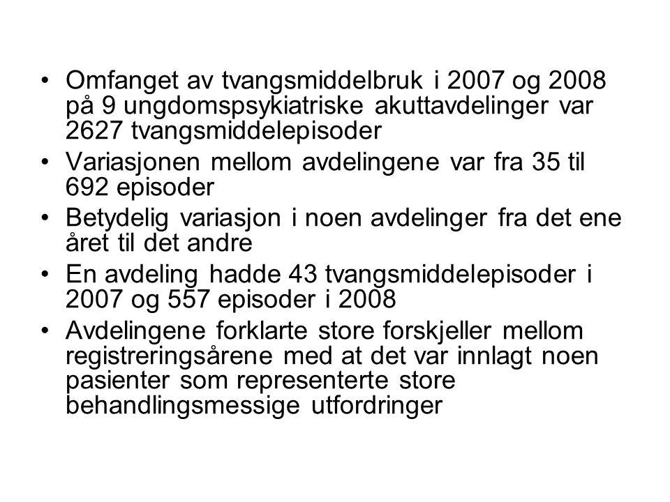 Omfanget av tvangsmiddelbruk i 2007 og 2008 på 9 ungdomspsykiatriske akuttavdelinger var 2627 tvangsmiddelepisoder Variasjonen mellom avdelingene var
