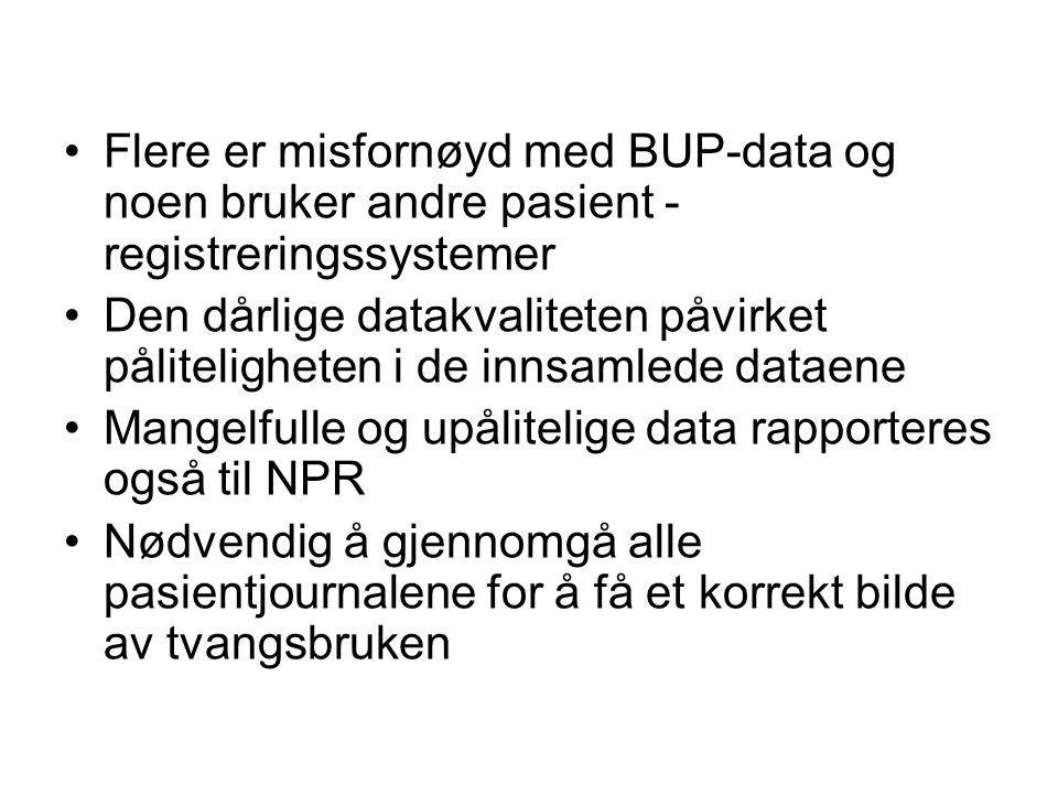Flere er misfornøyd med BUP-data og noen bruker andre pasient - registreringssystemer Den dårlige datakvaliteten påvirket påliteligheten i de innsamle