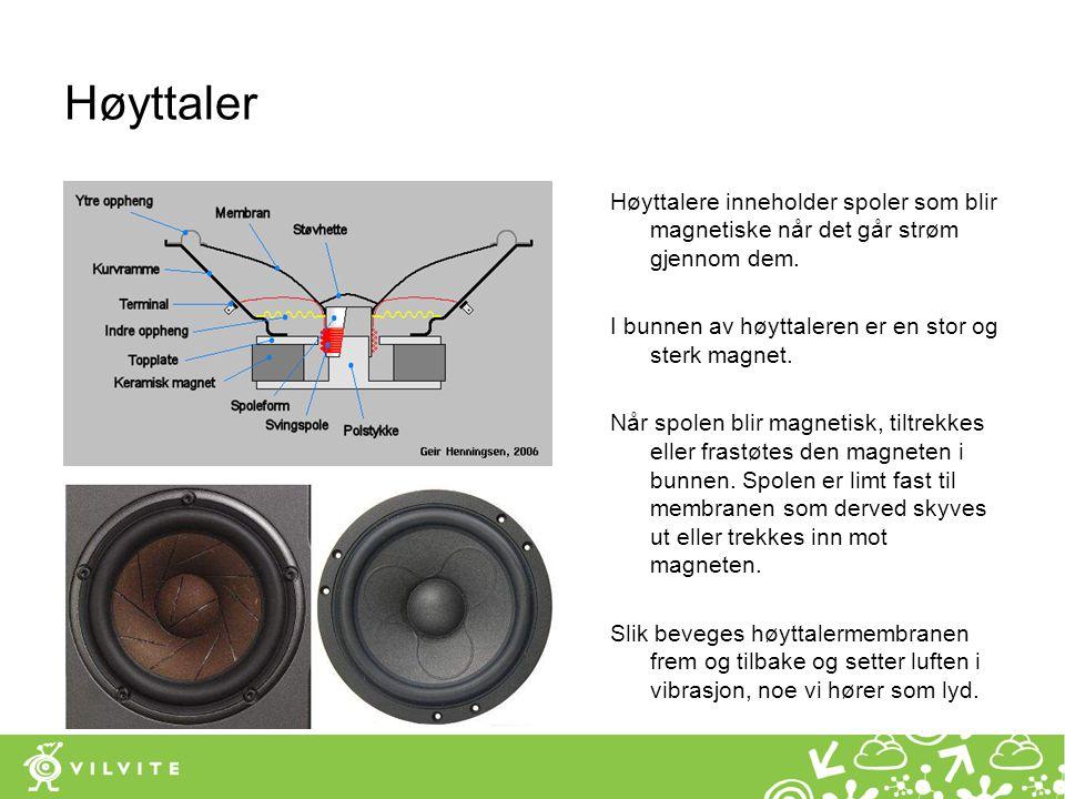 Høyttaler Høyttalere inneholder spoler som blir magnetiske når det går strøm gjennom dem. I bunnen av høyttaleren er en stor og sterk magnet. Når spol
