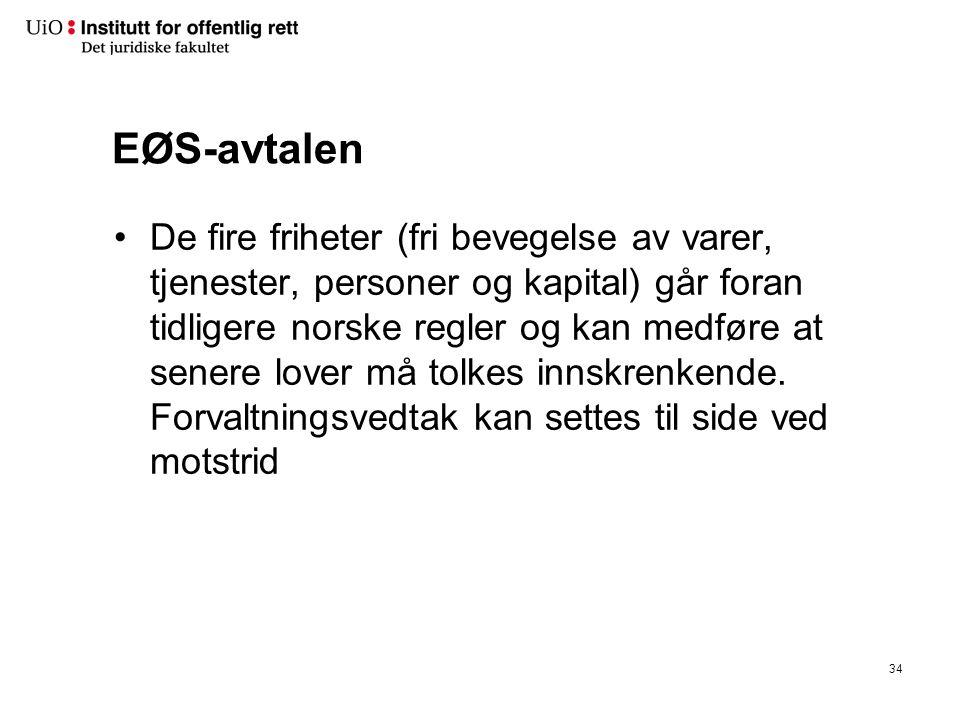 EØS-avtalen De fire friheter (fri bevegelse av varer, tjenester, personer og kapital) går foran tidligere norske regler og kan medføre at senere lover må tolkes innskrenkende.