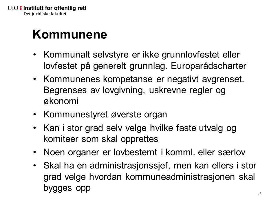 Kommunene Kommunalt selvstyre er ikke grunnlovfestet eller lovfestet på generelt grunnlag.