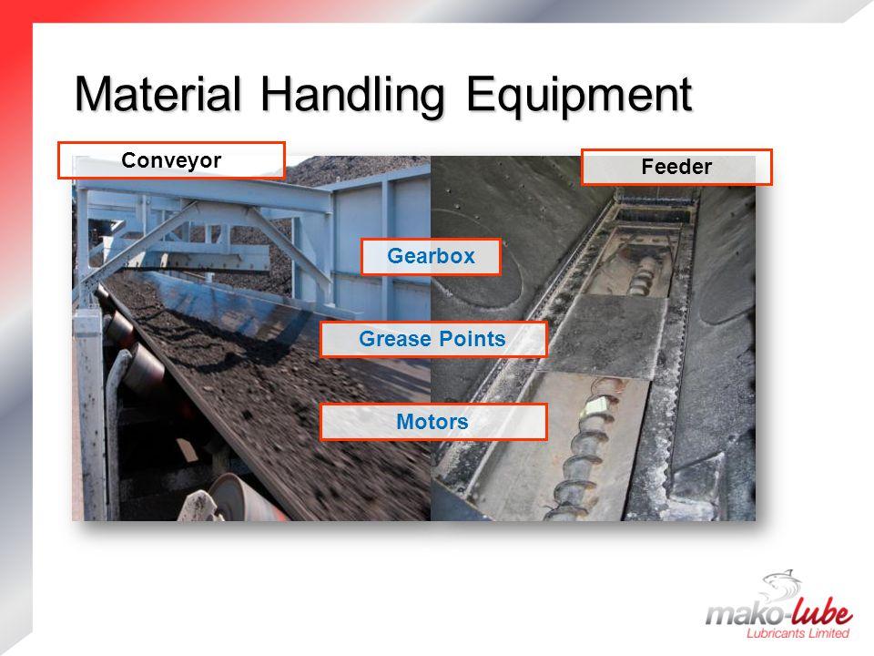 Material Handling Equipment Material Handling Equipment Motors Feeder Gearbox Grease Points Conveyor