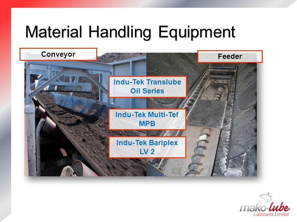 Material Handling Equipment Material Handling Equipment Indu-Tek Bariplex LV 2 Feeder Indu-Tek Translube Oil Series Indu-Tek Multi-Tef MPB Conveyor
