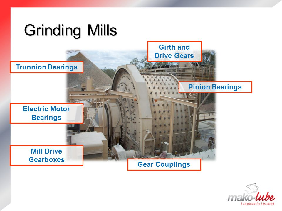 Grinding Mills Grinding Mills Mill Drive Gearboxes Girth and Drive Gears Pinion Bearings Electric Motor Bearings Trunnion Bearings Gear Couplings