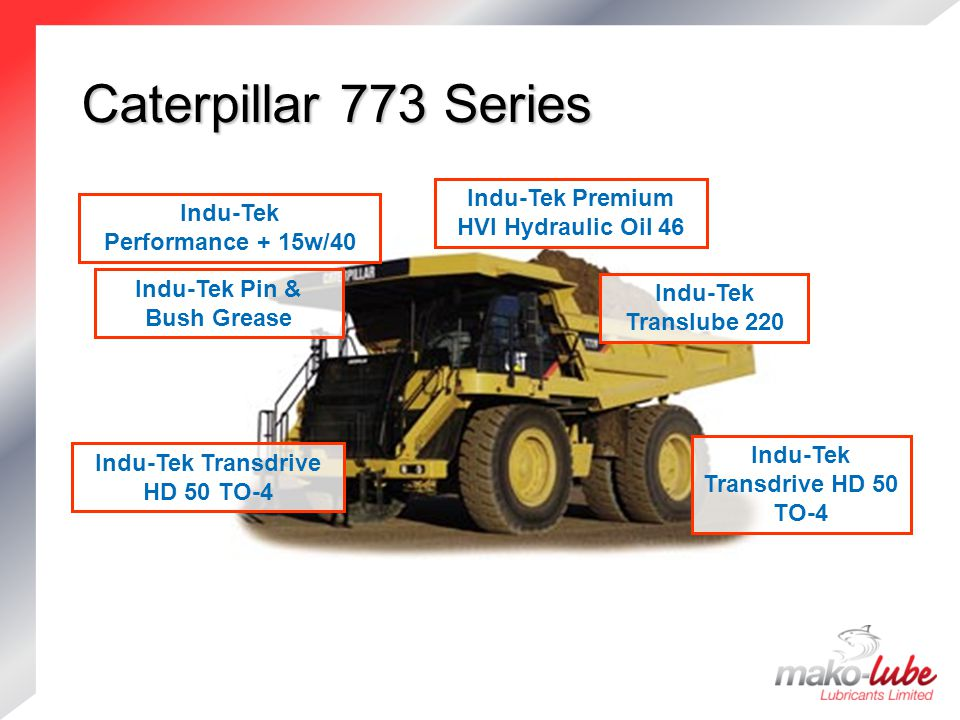 Caterpillar 773 Series Caterpillar 773 Series Indu-Tek Premium HVI Hydraulic Oil 46 Indu-Tek Pin & Bush Grease Indu-Tek Translube 220 Indu-Tek Transdrive HD 50 TO-4 Indu-Tek Performance + 15w/40