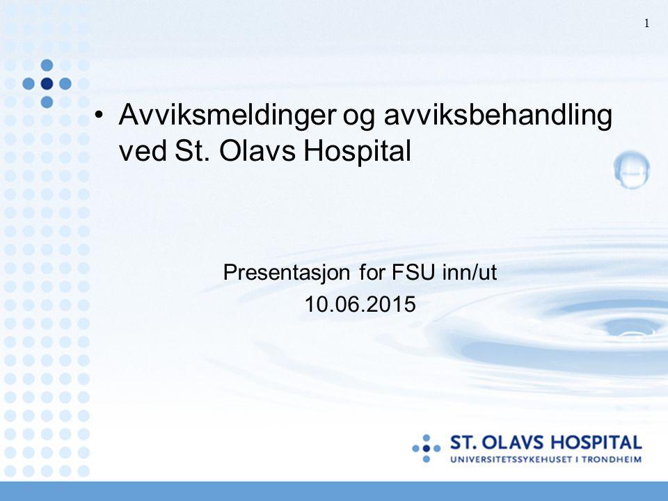 Avviksmeldinger og avviksbehandling ved St. Olavs Hospital Presentasjon for FSU inn/ut 10.06.2015 1