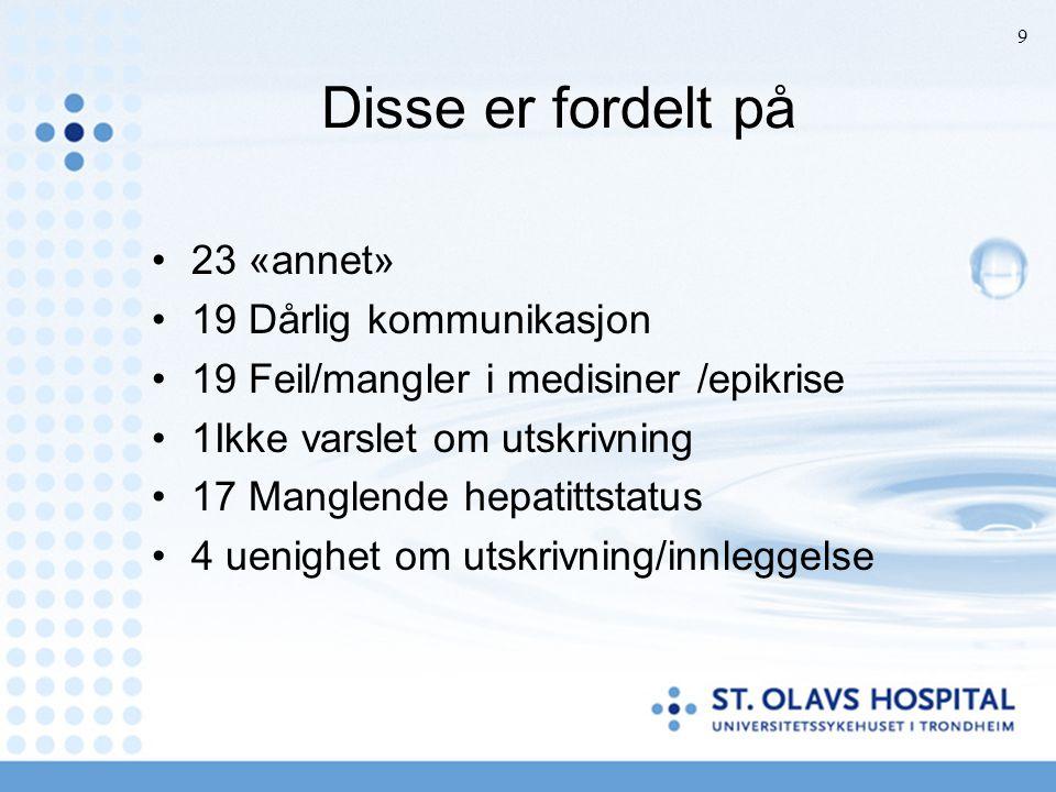 Disse er fordelt på 23 «annet» 19 Dårlig kommunikasjon 19 Feil/mangler i medisiner /epikrise 1Ikke varslet om utskrivning 17 Manglende hepatittstatus