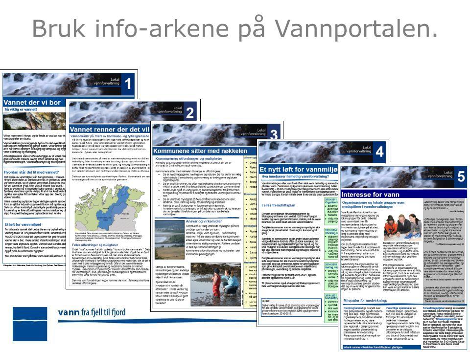 Bruk info-arkene på Vannportalen.