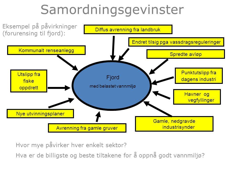 Samordningsgevinster Fjord med belastet vannmiljø Kommunalt renseanlegg Diffus avrenning fra landbruk Avrenning fra gamle gruver Gamle, nedgravde industrisynder Punktutslipp fra dagens industri Utslipp fra fiske oppdrett Eksempel på påvirkninger (forurensing til fjord): Hvor mye påvirker hver enkelt sektor.
