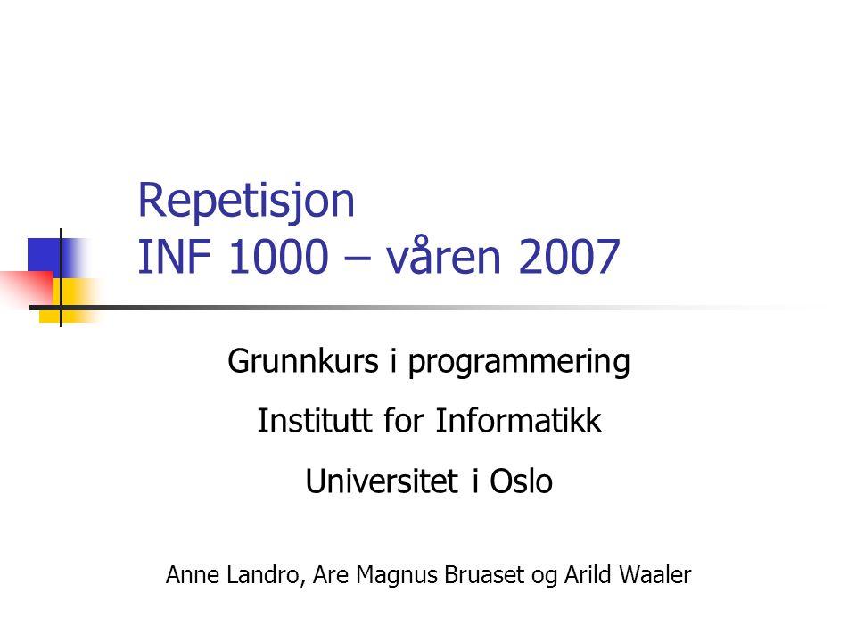 Løsning import easyIO.*; class AdgangTilUniversitetet { public static void main (String [] args) { int alder; double karSnitt; Out skjerm = new Out(); In tast = new In (); skjerm.out( Alder: ); alder = tast.inInt(); skjerm.out( Karaktersnitt: ); karSnitt = tast.inDouble(); if (alder >= 18) { if (karSnitt > 4.8) skjerm.outln( Personen kan tas opp ); else skjerm.outln( Personen kan ikke tas opp ); } else skjerm.outln( Personen kan ikke tas opp ); }