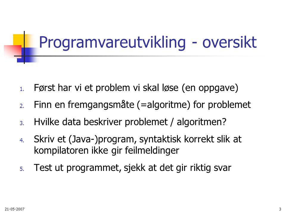 21-05-200764 Pensum V2007 Rett på Java, 2005; Kap 1-9, 12 På nettet: Arne Maus: Informasjonsteknologi, vitenskap og samfunnsmessige virkninger Personopplysningsloven, http://www.datatilsynet.no/