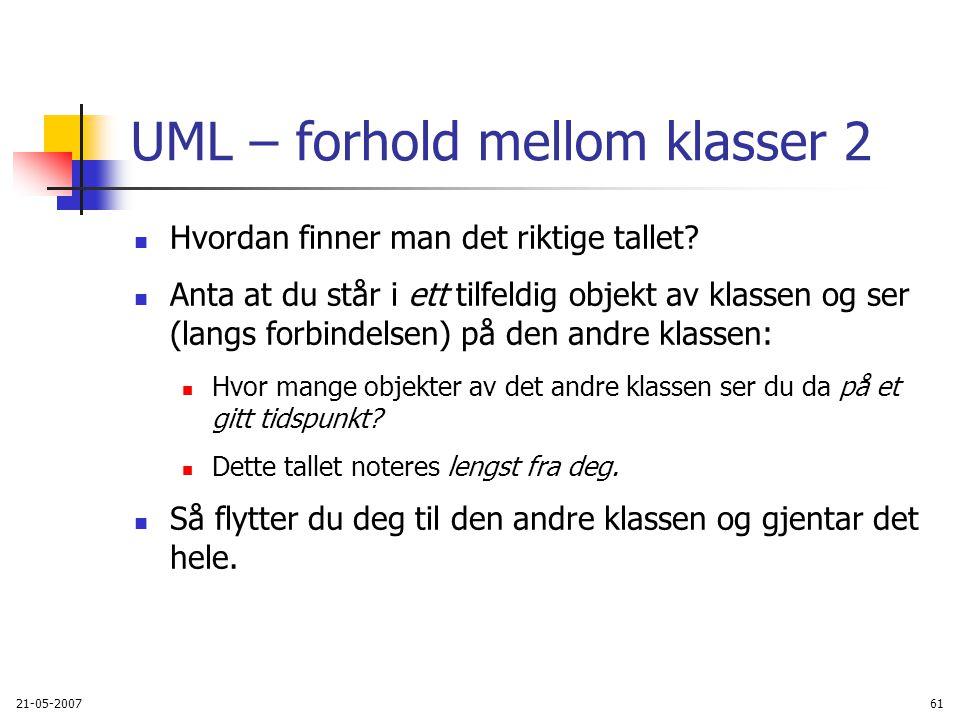 21-05-200761 UML – forhold mellom klasser 2 Hvordan finner man det riktige tallet.