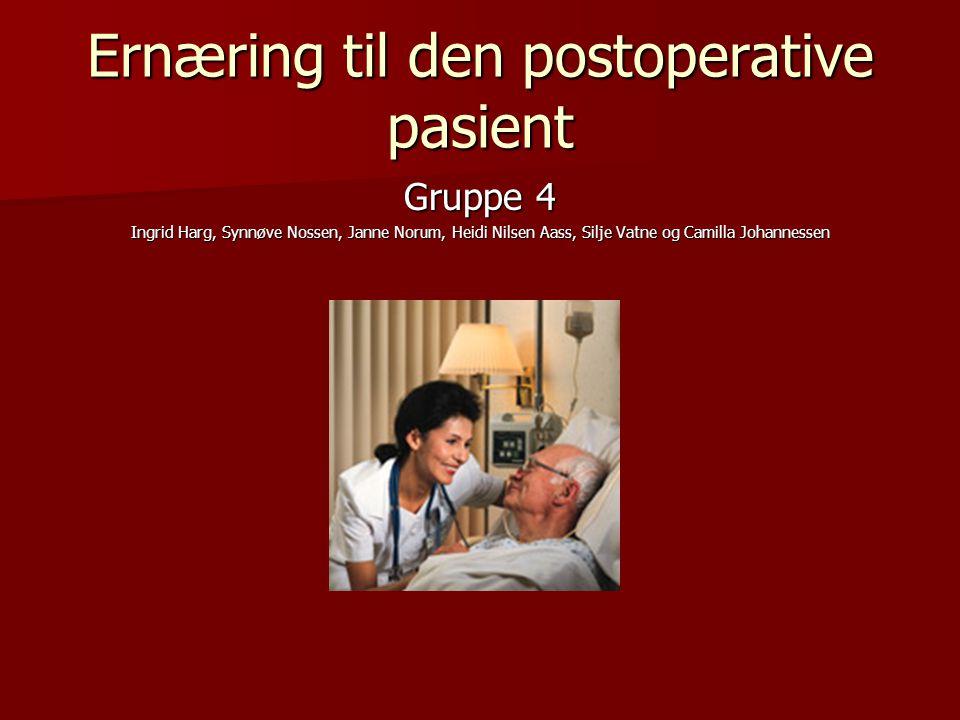 Ernæring til den postoperative pasient Gruppe 4 Ingrid Harg, Synnøve Nossen, Janne Norum, Heidi Nilsen Aass, Silje Vatne og Camilla Johannessen