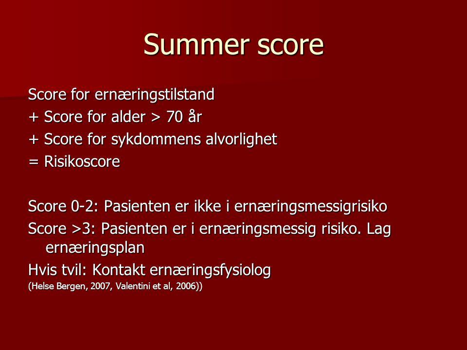 Summer score Score for ernæringstilstand + Score for alder > 70 år + Score for sykdommens alvorlighet = Risikoscore Score 0-2: Pasienten er ikke i ern