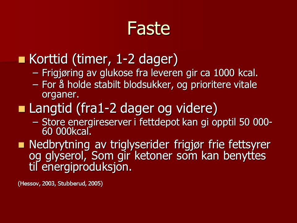 Faste Korttid (timer, 1-2 dager) Korttid (timer, 1-2 dager) –Frigjøring av glukose fra leveren gir ca 1000 kcal. –For å holde stabilt blodsukker, og p