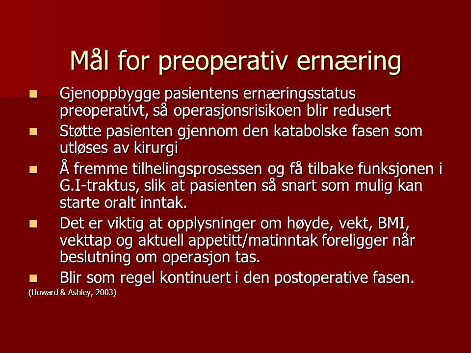 Mål for preoperativ ernæring Gjenoppbygge pasientens ernæringsstatus preoperativt, så operasjonsrisikoen blir redusert Gjenoppbygge pasientens ernærin