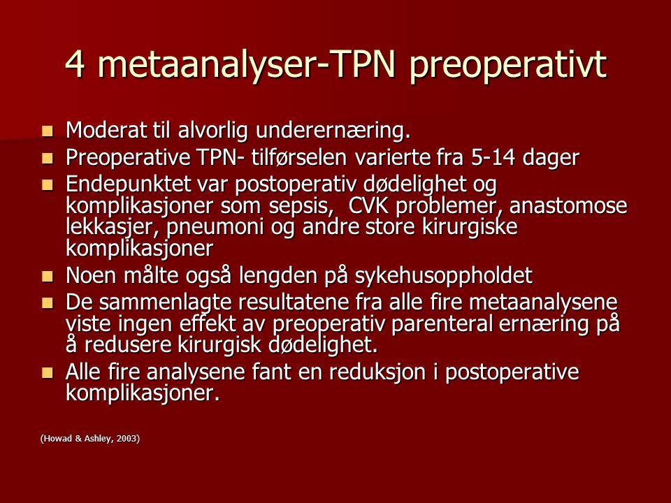 4 metaanalyser-TPN preoperativt Moderat til alvorlig underernæring. Moderat til alvorlig underernæring. Preoperative TPN- tilførselen varierte fra 5-1