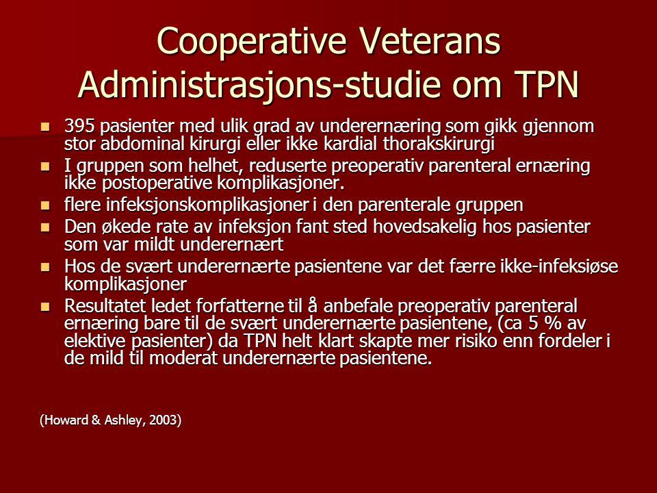 Cooperative Veterans Administrasjons-studie om TPN 395 pasienter med ulik grad av underernæring som gikk gjennom stor abdominal kirurgi eller ikke kar