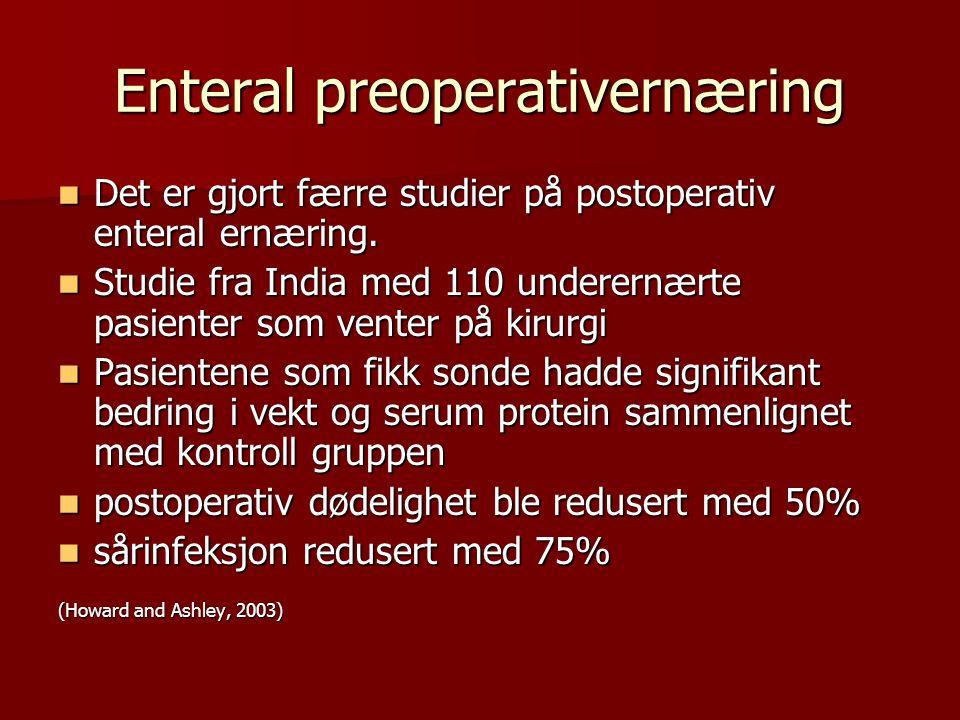 Enteral preoperativernæring Det er gjort færre studier på postoperativ enteral ernæring. Det er gjort færre studier på postoperativ enteral ernæring.