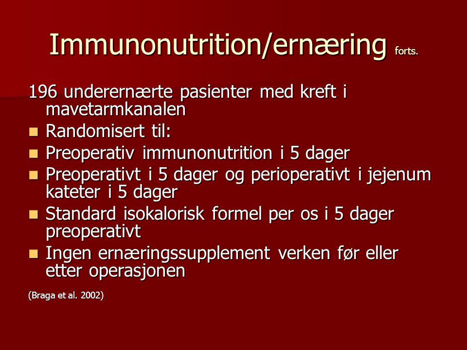 Immunonutrition/ernæring forts. 196 underernærte pasienter med kreft i mavetarmkanalen Randomisert til: Randomisert til: Preoperativ immunonutrition i