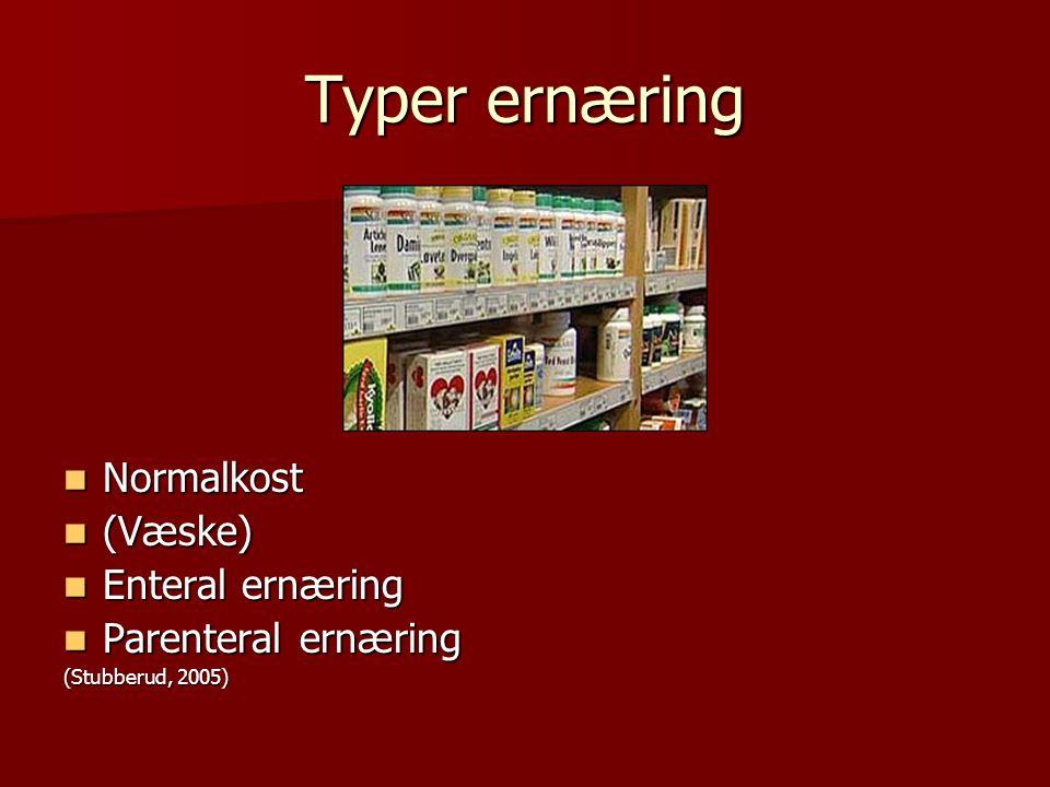 Typer ernæring Normalkost Normalkost (Væske) (Væske) Enteral ernæring Enteral ernæring Parenteral ernæring Parenteral ernæring (Stubberud, 2005)
