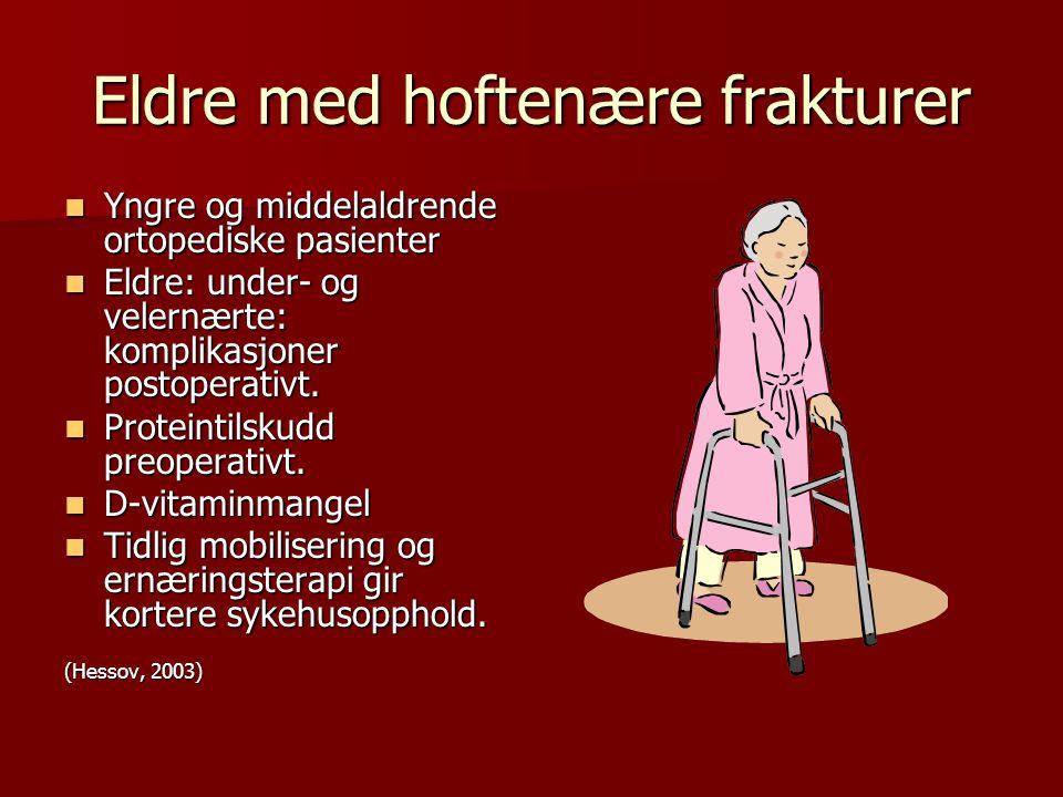 Eldre med hoftenære frakturer Yngre og middelaldrende ortopediske pasienter Yngre og middelaldrende ortopediske pasienter Eldre: under- og velernærte: