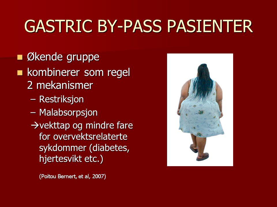 GASTRIC BY-PASS PASIENTER Økende gruppe Økende gruppe kombinerer som regel 2 mekanismer kombinerer som regel 2 mekanismer –Restriksjon –Malabsorpsjon