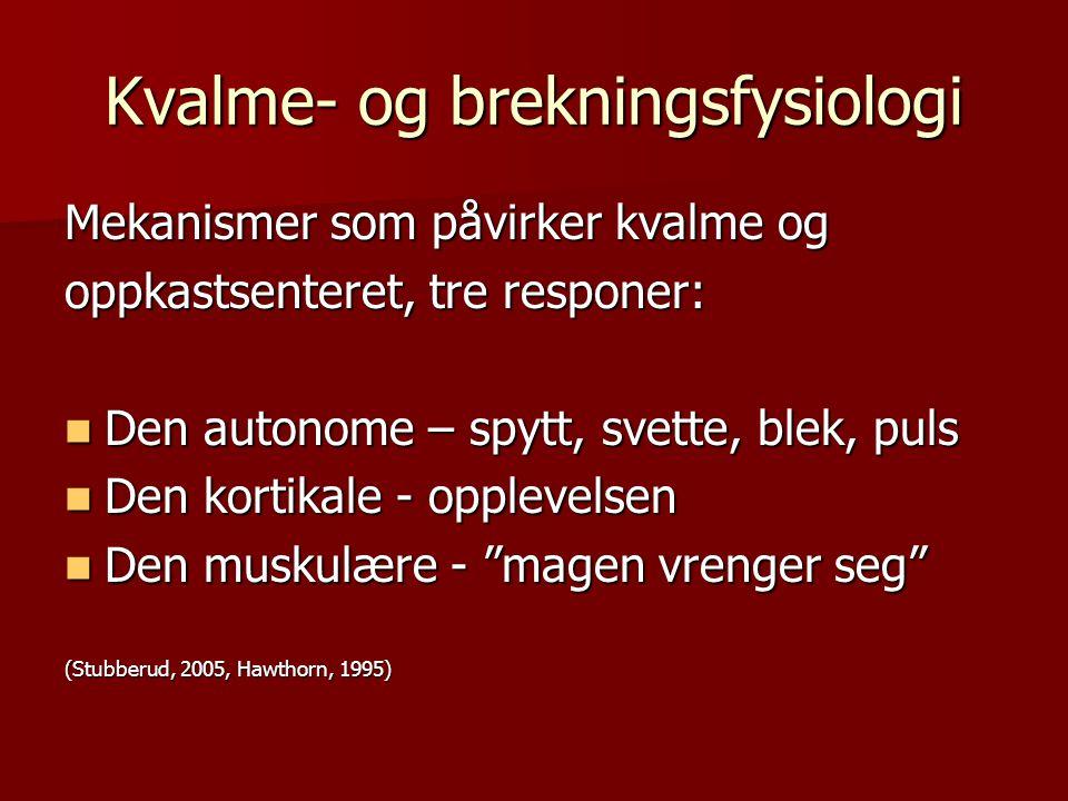 Kvalme- og brekningsfysiologi Mekanismer som påvirker kvalme og oppkastsenteret, tre responer: Den autonome – spytt, svette, blek, puls Den autonome –