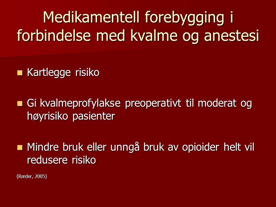 Medikamentell forebygging i forbindelse med kvalme og anestesi Kartlegge risiko Kartlegge risiko Gi kvalmeprofylakse preoperativt til moderat og høyri