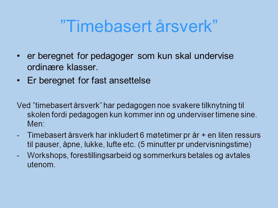 Timebasert årsverk er beregnet for pedagoger som kun skal undervise ordinære klasser.